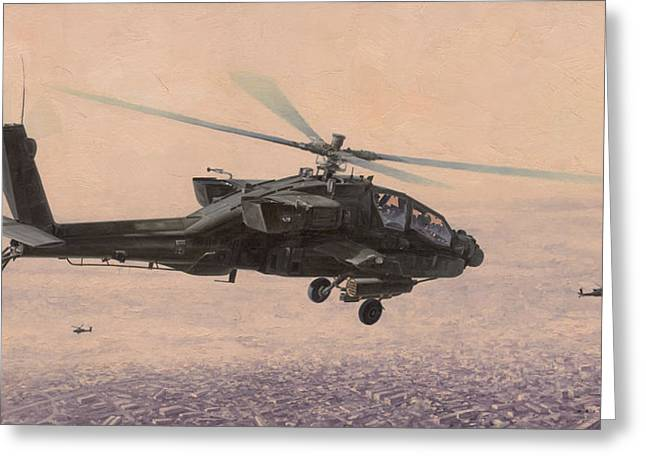 Ah-64 Greeting Cards - The Sadr City Flying Club Greeting Card by Wade Meyers