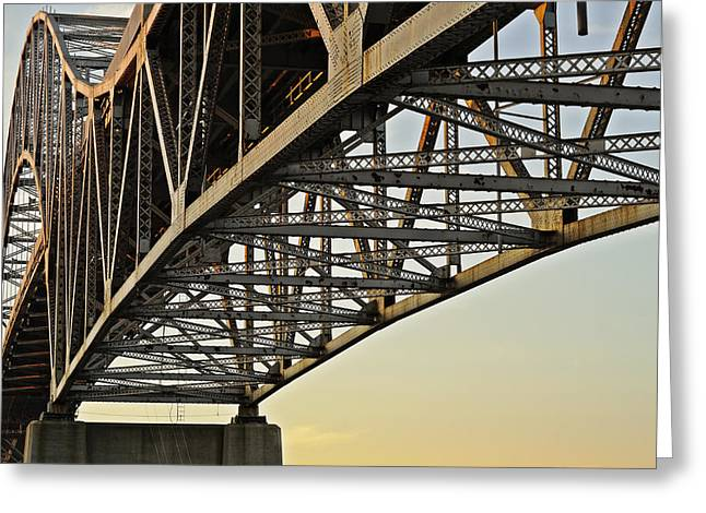 Man Made Abstract Greeting Cards - The Sagamore Bridge Greeting Card by Luke Moore
