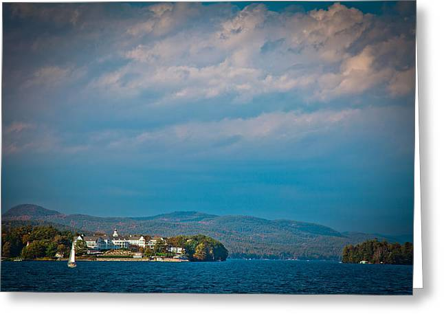 Aderondacks Greeting Cards - The Sagamore Hotel on Beautiful Lake George Greeting Card by David Patterson