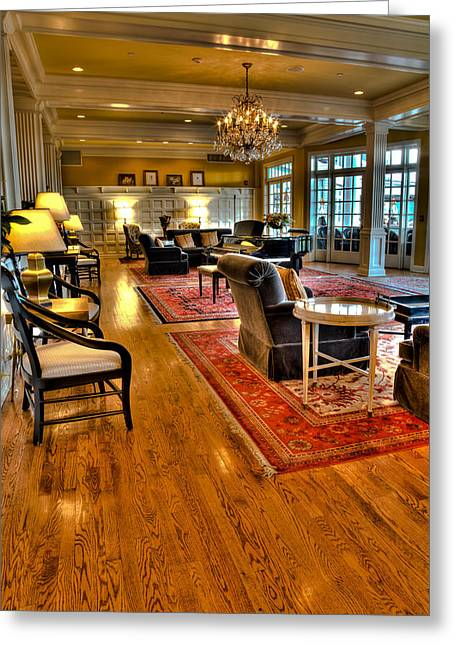 The Lake George Greeting Cards - The Sagamore Resort Lobby Greeting Card by David Patterson