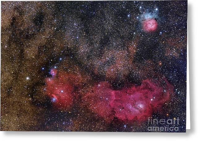 Interstellar Space Greeting Cards - The Sagittarius Triplet Featuring Greeting Card by Roberto Colombari