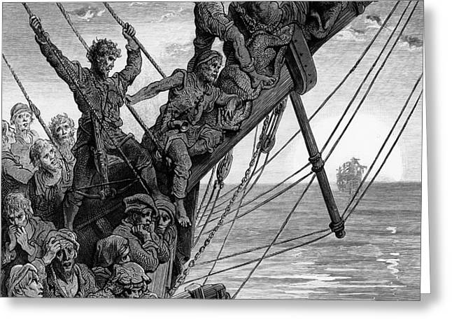 The sailors see in the distance a ghostly ship Greeting Card by Gustave Dore