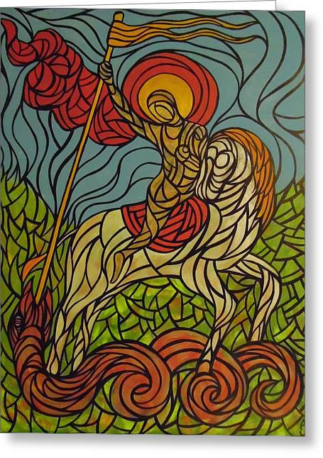 Medieval Tapestries Greeting Cards - The Saint and the Serpent Greeting Card by Anthony Schwed