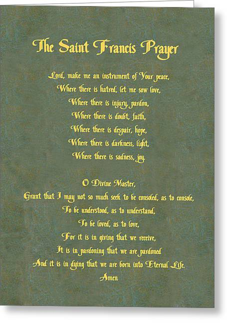 Francis Greeting Cards - The Saint Francis Prayer in gold lettering on green leather. Greeting Card by Philip Ralley