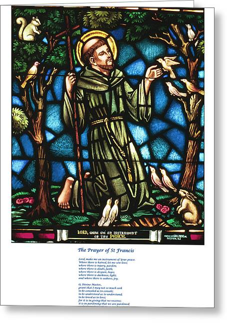 Franciscan Saints Greeting Cards - The Saint Francis Prayer with an image of St Francis in Stained Glass Greeting Card by Philip Ralley