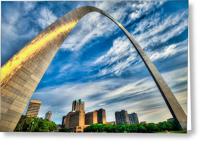 Hyatt Hotel Greeting Cards - The Saint Louis Arch and City Skyline Greeting Card by Gregory Ballos