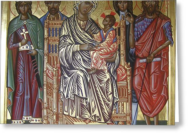 Byzantine Icon Greeting Cards - The Saints of Hereford Icon Greeting Card by Peter Murphy