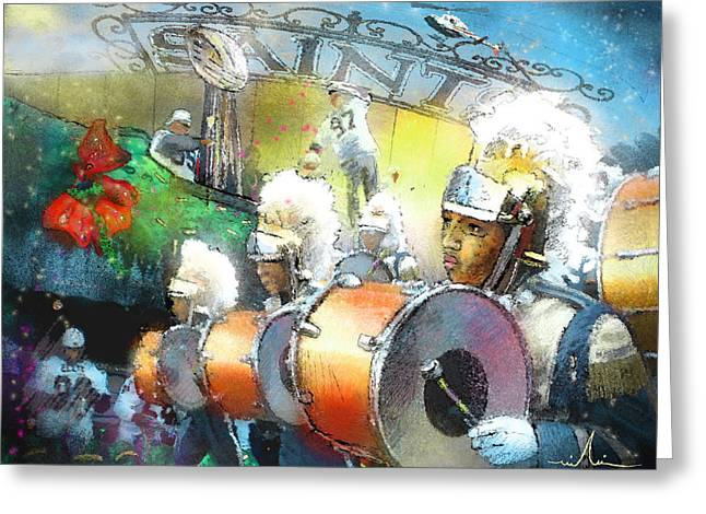 Marching Band Greeting Cards - The Saints Parade in New Orleans 2010 01 Greeting Card by Miki De Goodaboom
