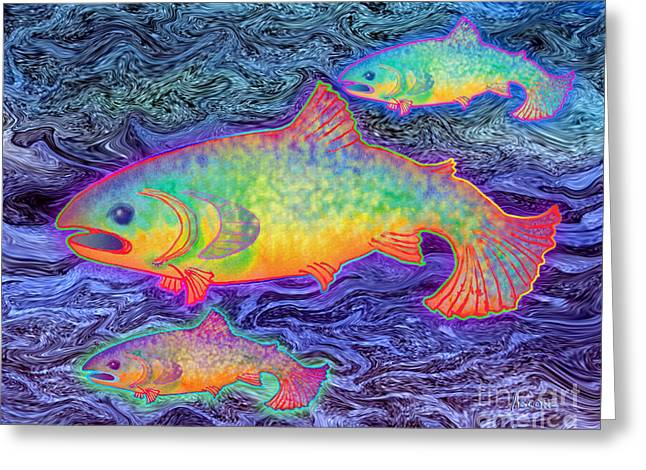 Sea Animals Greeting Cards - The Salmon King Greeting Card by Teresa Ascone