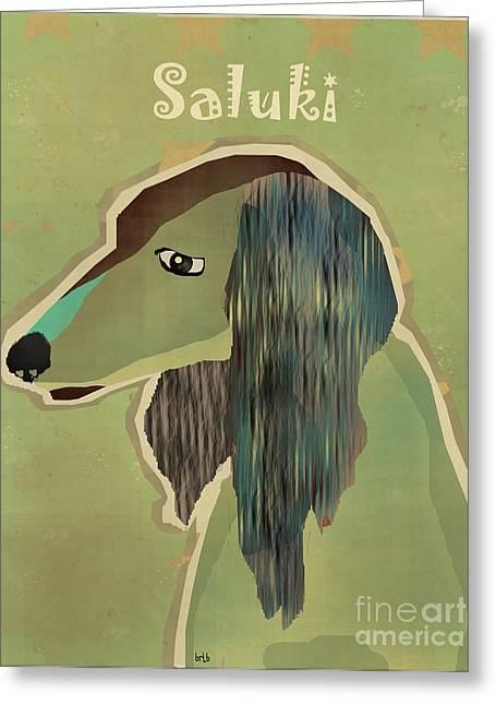 Portriats Greeting Cards - The Saluki Greeting Card by Bri Buckley
