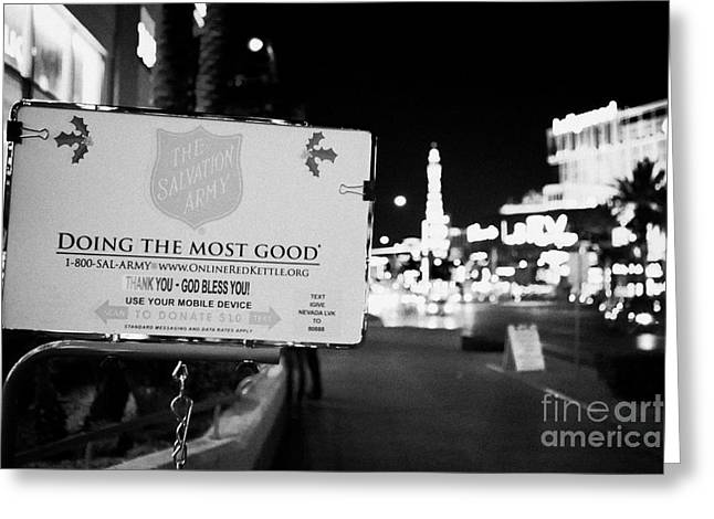 Donates Greeting Cards - the salvation army christmas collection point on the Las Vegas boulevard Nevada USA Greeting Card by Joe Fox