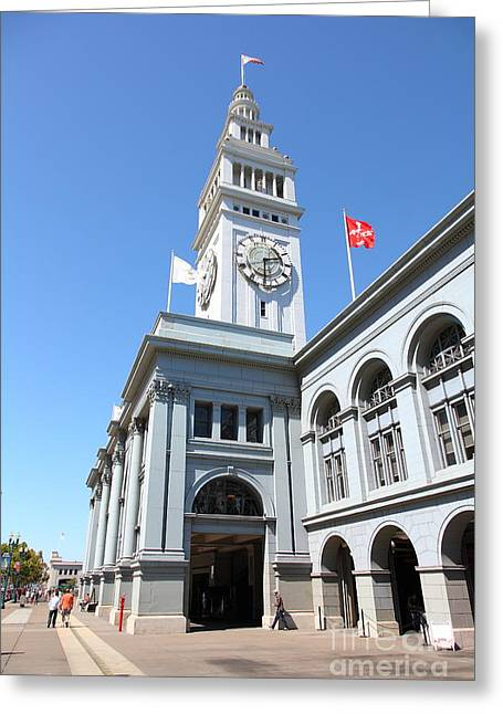 Port Of San Francisco Greeting Cards - The San Francisco Ferry Building 5D25381 Greeting Card by Wingsdomain Art and Photography