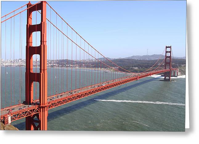 Steel Construction Greeting Cards - The San Francisco Golden Gate Bridge 7D14507 square Greeting Card by Wingsdomain Art and Photography