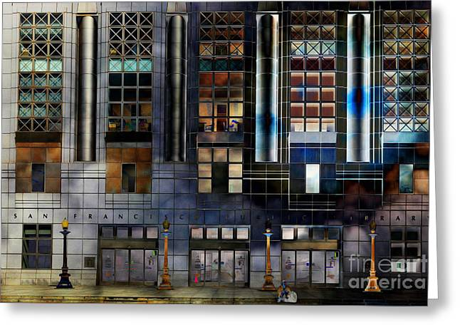 Bayarea Greeting Cards - The San Francisco Public Library 5D22601 photoart Greeting Card by Wingsdomain Art and Photography