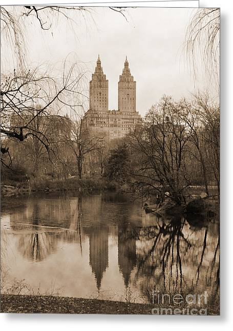 The San Remo Building Reflectec On The Lake In Central Park Vintage Look Greeting Card by RicardMN Photography