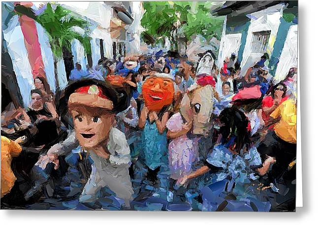 Libation Mixed Media Greeting Cards - The San Sebastian Street Festival Greeting Card by Charlie Roman