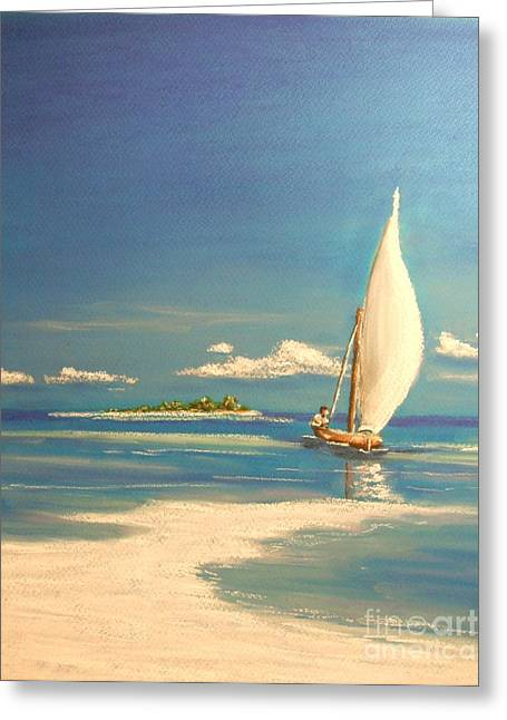 Ocean Sailing Pastels Greeting Cards - The Sand Bar Greeting Card by The Beach  Dreamer