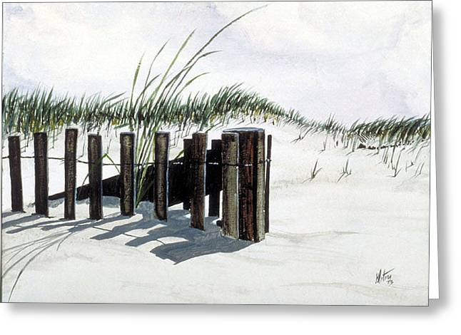 Sand Fences Paintings Greeting Cards - The Sand Fence Greeting Card by Gregory Peters