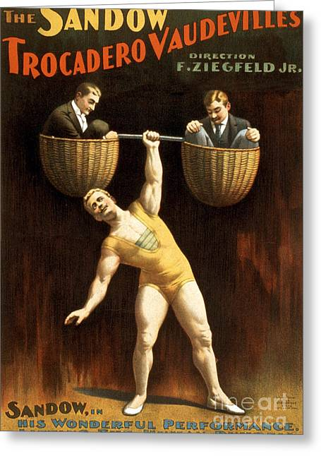 Muscleman Greeting Cards - The Sandow Trocadero Vaudevilles, 1894 Greeting Card by Photo Researchers