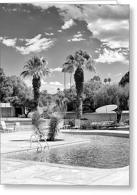 The Sandpiper Pool Bw Palm Desert Greeting Card by William Dey