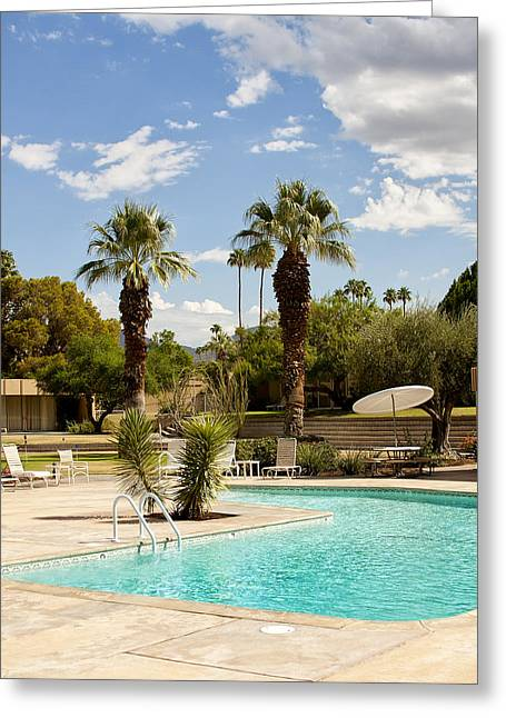 Sandpipers Greeting Cards - THE SANDPIPER POOL Palm Desert Greeting Card by William Dey