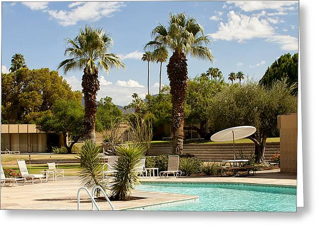 THE SANDPIPER POOL Palm Desert Greeting Card by William Dey