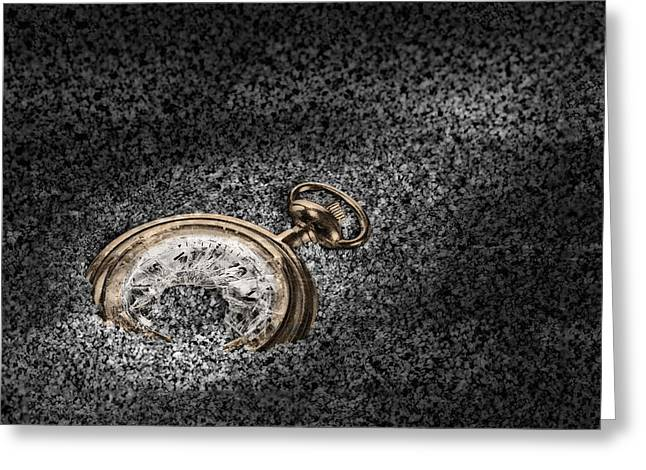 Pocket Watch Greeting Cards - The Sands of Time Greeting Card by Tom Mc Nemar