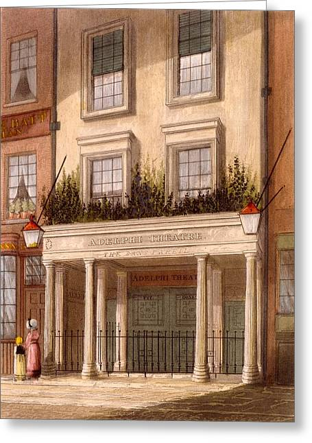 West End Greeting Cards - The Sans Pareil Theatre, 1826 Greeting Card by Daniel Havell