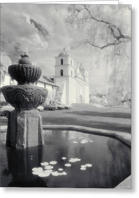 Lilly Pads Greeting Cards - The Santa Barbara Mission Greeting Card by Jerry McElroy