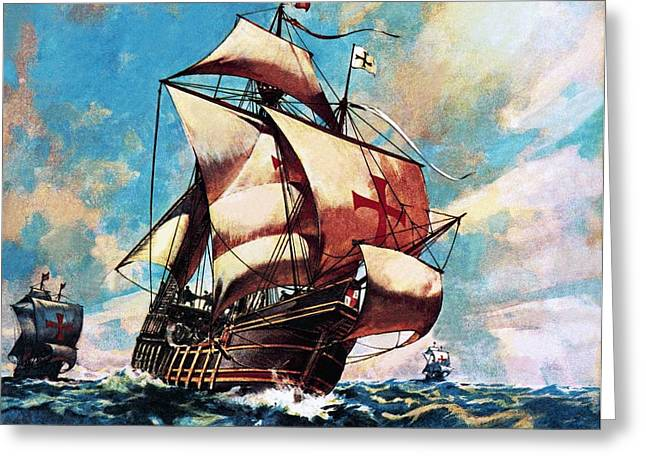 Sailing Ship Greeting Cards - The Santa Maria Greeting Card by James Edwin McConnell