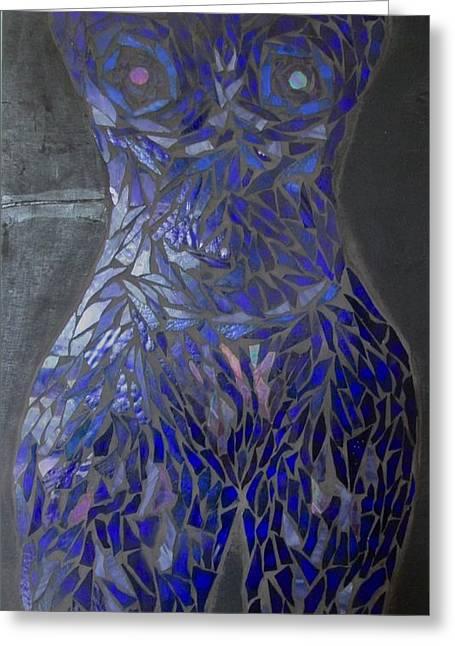 Woman Glass Art Greeting Cards - The Sapphire Woman Greeting Card by Alison Edwards