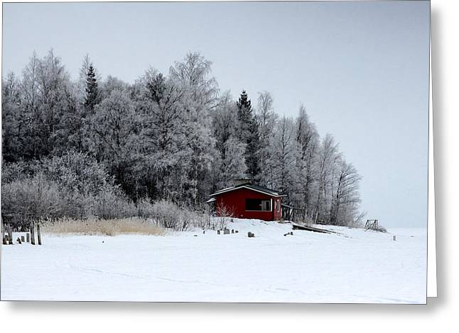 Sauna Greeting Cards - The Sauna in Winter Greeting Card by Mountain Dreams