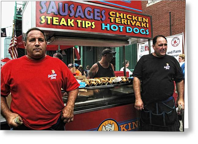 Boston Sports Parks Greeting Cards - The Sausage Kings - Boston Greeting Card by Joann Vitali