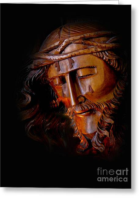 Wooden Sculpture Greeting Cards - The Savior Weeps Greeting Card by Al Bourassa