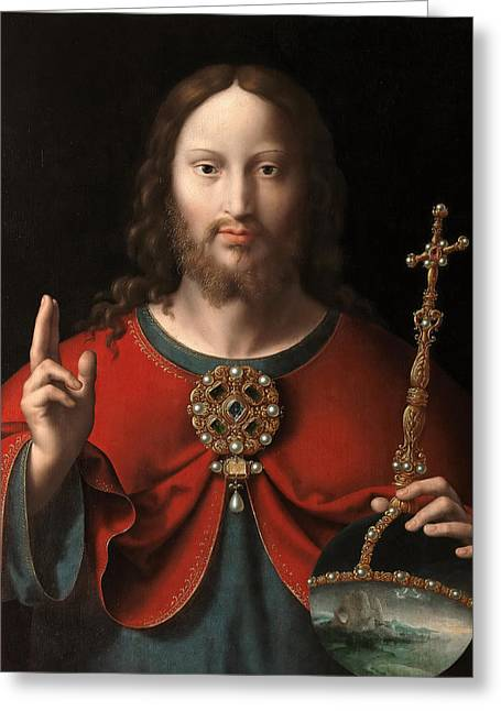 Cleves Greeting Cards - The Saviour Greeting Card by Joos van Cleve