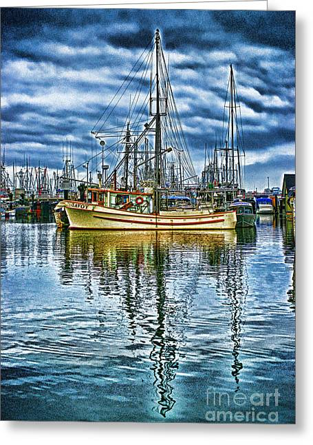Fishing Boats Greeting Cards - The Savory HDR Greeting Card by Randy Harris