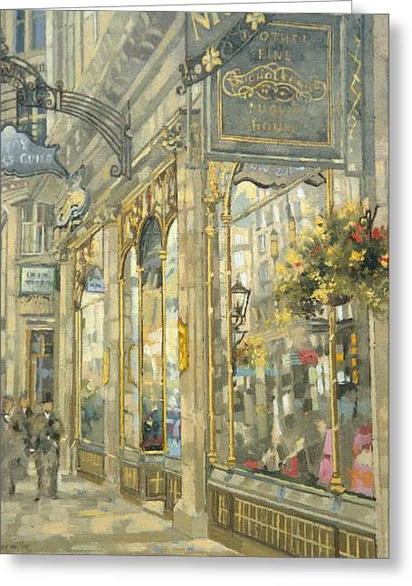 Up-light Greeting Cards - The Savoy Taylors Guild - The Strand Oil On Canvas Greeting Card by Peter Miller