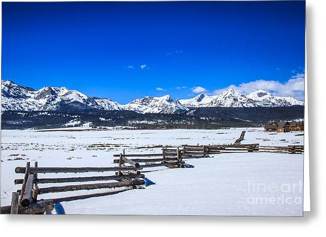 Haybales Greeting Cards - The Sawtooth Mountains Greeting Card by Robert Bales
