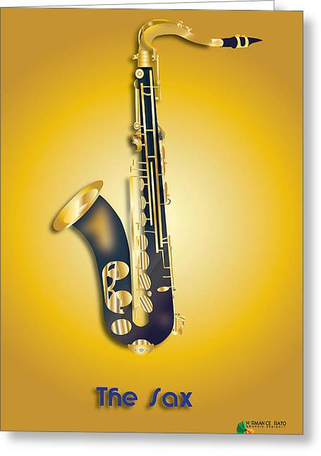 Vector Image Greeting Cards - The Sax Greeting Card by Herman Cerrato