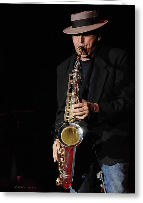 The Sax Man Greeting Card by Kenny Francis