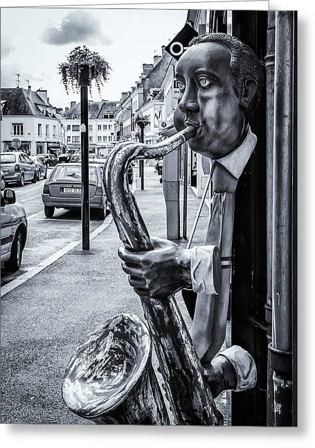 Social Comment Greeting Cards - The Sax Player Greeting Card by Gerry Walden