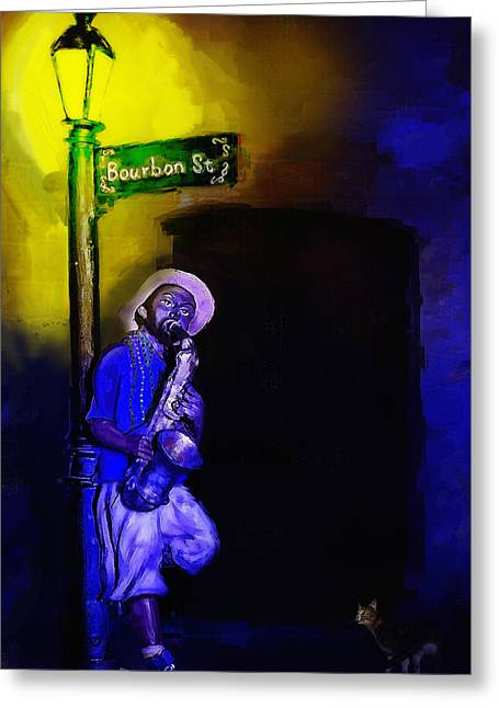Desperate Mixed Media Greeting Cards - The Sax Player Greeting Card by Ken Morris