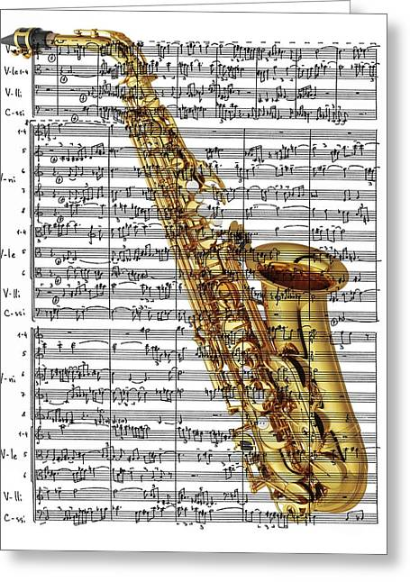 The Saxophone Greeting Card by Ron Davidson