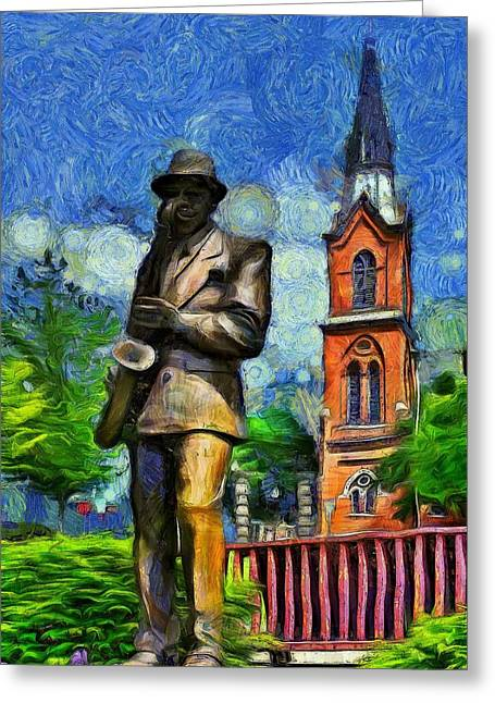 Van Gogh Style Greeting Cards - The Saxophonist  Greeting Card by L Wright