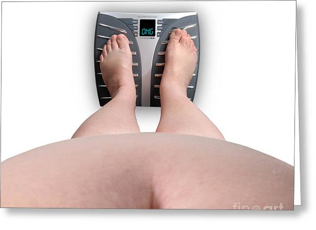 Body Conscious Greeting Cards - The Scale Says Series OMG Greeting Card by Amy Cicconi