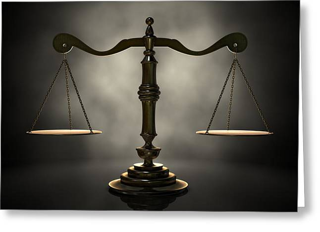 Gauge Greeting Cards - The Scales Of Justice Greeting Card by Allan Swart