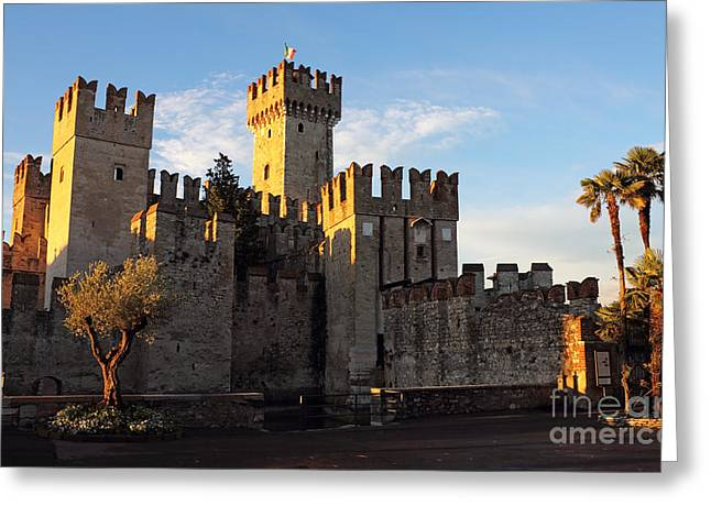 Northern Italy Greeting Cards - The Scaliger Castle in Sirmione Greeting Card by Kiril Stanchev