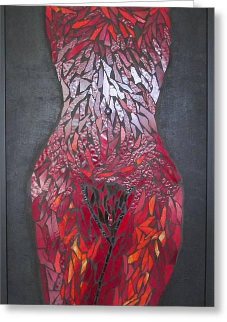 Woman Glass Art Greeting Cards - The Scarlet Woman Greeting Card by Alison Edwards