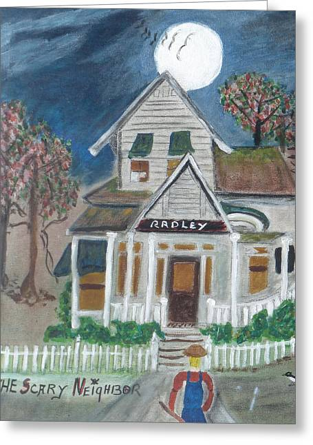 """haunted House"" Paintings Greeting Cards - The Scary Neighbor Greeting Card by Ann Whitfield"