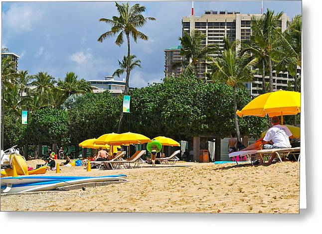 Chaise Greeting Cards - The Scene At Waikiki Beach Greeting Card by Michele Myers